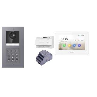 Komplettset 2 Draht IP Video Türklingel  HIKVISION 2 Megapixel 1x Klingeltaste /KP Unterputz & Monitor KH6320-WTE2 3 Sprechstellen