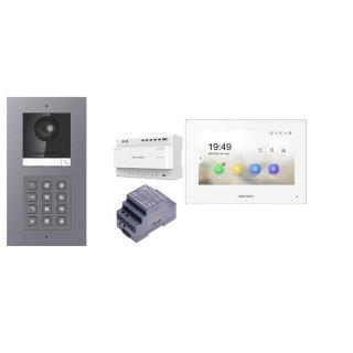 Komplettset 2 Draht IP Video Türklingel  HIKVISION 2 Megapixel 1x Klingeltaste /KP Unterputz & Monitor KH6320-WTE2 4 Sprechstellen