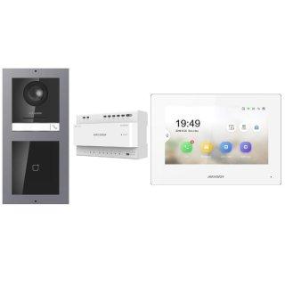 Komplettset 2 Draht IP Video Türklingel  HIKVISION 2 Megapixel 1x Klingeltaste /ID Aufputz & Monitor KH6320-WTE2 3 Sprechstellen