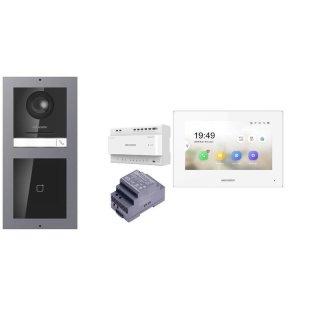 Komplettset 2 Draht IP Video Türklingel  HIKVISION 2 Megapixel 1x Klingeltaste /ID Unterputz & Monitor KH6320-WTE2 eine Sprechstelle