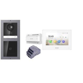Komplettset 2 Draht IP Video Türklingel  HIKVISION 2 Megapixel 1x Klingeltaste /ID Unterputz & Monitor KH6320-WTE2 2 Sprechstellen
