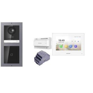 Komplettset 2 Draht IP Video Türklingel  HIKVISION 2 Megapixel 1x Klingeltaste /ID Unterputz & Monitor KH6320-WTE2 3 Sprechstellen