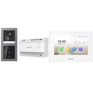 Komplettpaket 2 Draht IP Video Türklingel  HIKVISION 2 Megapixel 1x Klingeltaste /I Aufputz & Monitor KH6320-WTE2 4 Sprechstellen