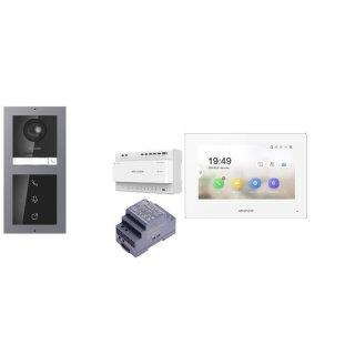Komplettpaket 2 Draht IP Video Türklingel  HIKVISION 2 Megapixel 1x Klingeltaste /I Unterputz & Monitor KH6320-WTE2 4 Sprechstellen