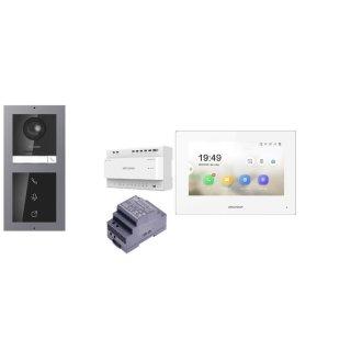 Komplettpaket 2 Draht IP Video Türklingel  HIKVISION 2 Megapixel 1x Klingeltaste /I Unterputz & Monitor KH6320-WTE2 5 Sprechstellen