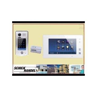 Video Türsprechanlage Türklingel DT601S/KP fe 170°  2MP Kamera Aufputz Sensor Zahlencode-Eingabefeld  für Türöffner  & MB87 Touchscreen m.Bild/Videospeicher weiß Videospeicher Monitor