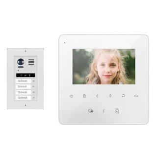 """Komplettset m. Sprechanlagen Monitor MB837 4 3"""" Sensortouch &  DT821 Unterputz Montage Video Türsprechanlage 4x Klingeltaste"""