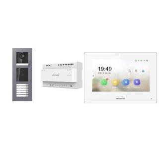 Komplettset 2 Draht IP Video Türklingel  HIKVISION 2 Megapixel 2-7 KlingeltastenAufputz Außenstation  ID Kartenleser